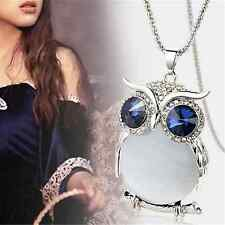 Women's Cute Owl Rhinestone Crystal Long Sweater Chain Pendant Necklace Jewelry