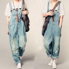 Trendy Womens Girls Denim Jumpsuits Overalls Loose Casual Wide Leg Fashion Pants