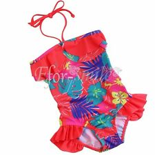 Girls Kid One Piece Floral Bikini Swimsuit Swimwear Bathers Swimmers Size 1-8
