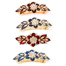 Lady Metal Floral Design Rhinestone Accent French Hair Barrette Clip Hairpin