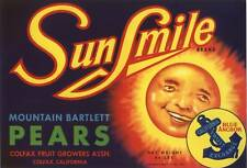 PEAR CRATE LABEL SUNSMILE COLFAX SUN VINTAGE CARTOON 1940S ORIGINAL SMILEY FACE