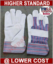 12 Pairs Split Leather Palm Work Gloves  Lg or Extra Large Sizes Hand Protect
