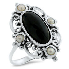 GENUINE BLACK ONYX PEARL 925 STERLING SILVER ANTIQUE STYLE RING,            #893