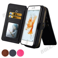 Real Leather Handbag Case Multifunction Zipper Wallet Card Hard Cover for iPhone