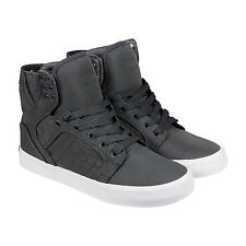 Supra Skytop Mens Grey White Nylon High Top Lace Up Sneakers Shoes