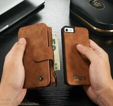 Genuine Leather Case Cover Zipper Wallet Card Multifunction For iPhone SE 5S New
