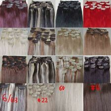 """New AAA+ 20""""-26"""" Remy Human Hair Clips In Extensions Straight 16Clips 105g"""