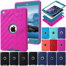 Shockproof Tyre Tread Soft Rubber Hard Hybrid Armor Case Cover For iPad Series