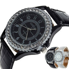 Geneva Crystal Womens Quartz Watch Dial Leather Ladies Wrist Watch Bracelet Gift