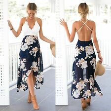 Women Summer Boho Chiffon Floral V-neck Lace Party Cocktail Beach Long Sun Dress