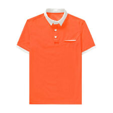 Men Point Collar Short Sleeves Contrast Color Buttoned Polo Shirt