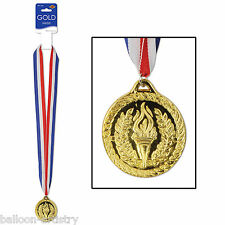 International Athletics Sports Party GOLD Medal 1st Place Award Ribbon Necklace