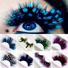1Pair Polka Dot Long Feather False Eyelashes Party Fancy Dress Eye Lashes Makeup