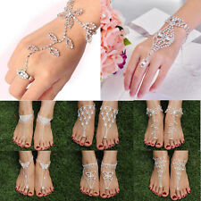 New Barefoot Sandal Foot Jewelry Silver Plated Crystal Toe Ring Ankle Bracelet