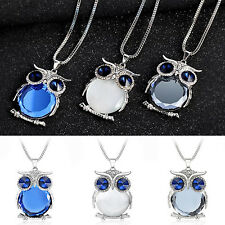 Lovely Women Lady Fashion Rhinestone Owl Pendant Long Chain Necklace Jewelry New