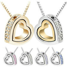 Newest Fashion Womens Heart Crystal Pendant Chain Necklace Silver Plated Jewelry