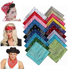 Fashion Womens Mens Square Paisley Head Band Wear Tie Neck Wrap Scarf Wristband