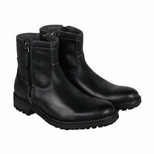 GBX Geffin Mens Black Leather Motorcycle Zip Up Boots Shoes