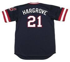 MIKE HARGROVE Cleveland Indians 1981 Majestic Cooperstown Throwback Away Jersey