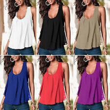 Women Lady's Summer Casual Chiffon Solid Loose Vest Soft T-Shirts Tops XS-5XL