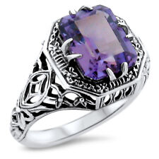 ANTIQUE ART DECO STYLE 925 SILVER COLOR CHANGING SIM ALEXANDRITE RING,     #908