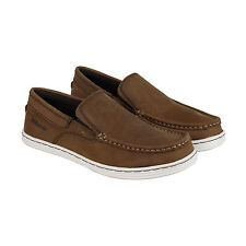 Sebago Barnet Mens Brown Leather Casual Dress Slip On Loafers Shoes