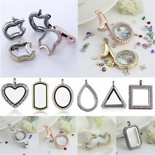 DIY Unique Gift Living Memory Floating Charm Locket Crystal Glass Necklace NEW