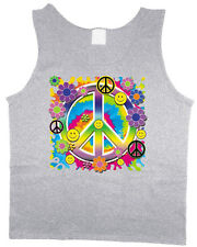 Men's tank top hippie peace sign flower child smiley face sleeveless shirt