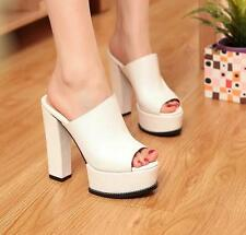 Womens High Thick Heel Open Toe Mules Faux Leather Sandals Platform Court Shoes