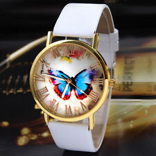 Charm Womens Ladies Watches Butterfly Leather Strap Analog Quartz Wrist Watch FT