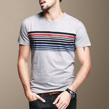Mens Casual T-Shirt Short Sleeve Round Neck Stripes Slim Fitted Gray M L XL XXL