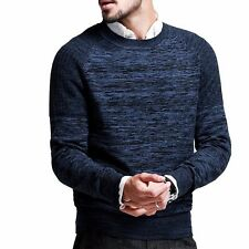 Mens Winter Warm Sweater Crewneck Long Sleeves Stripped Blue Color Slim Cotton