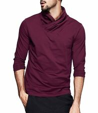 New Fashion Mens High-necked Casual T-Shirt Solid Long Sleeve T-Shirt M L XL XXL