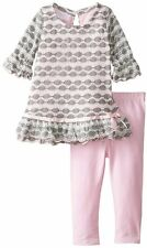 Bonnie Jean Baby Girl Pink Wavy Novelty Knit Dress Legging Outfit 12M - 24M  New