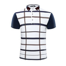 Men Turn-down Collar Short Sleeves Plaids Slim Fit Polo Shirt