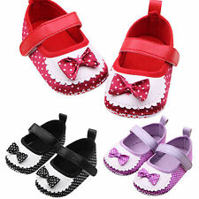 Infant Girls Baby Polka Dots Trainers Shoes Soft Sole Bowknot Princess Prewalker