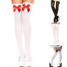 Sexy Women Top Bows Bowknot Socks Skinny Over Knee Thigh High Long Stockings Hot