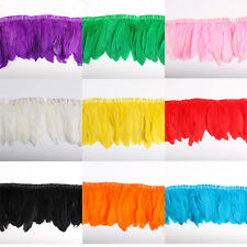 2/10 yards Goose Feather Trim Fringe 6-8 inch Sewing/Costume/​DIY Craft Feather