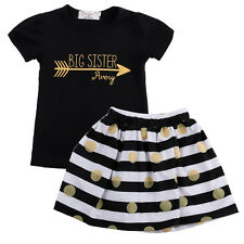 Fashion Kids Baby Girls Summer Dress Tops T-Shirt Striped Skirt Outfits 2-7Y