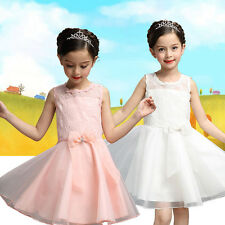 Elegant Girls Kids Princess Silk Gown Bowknot Party Pageant Wedding Dress 2-7Y