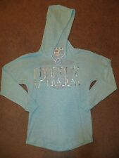 VICTORIA'S SECRET PINK BLUE SLOUCHY PULLOVER OPEN BACK TUNIC SWEATER HOODIE XS S