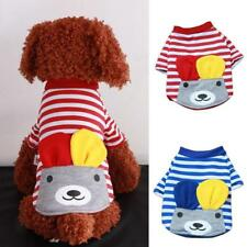 Pet Puppy Dog Doggie Striped Warm Clothes Apparel Costume Cute Bear Top T-Shirt