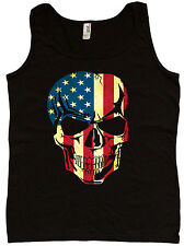 Ladies tank top USA skull patriotic biker shirt women's black tank top tee