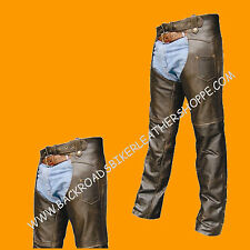 Mens Womens Retro Brown Leather Motorcycle Biker Chaps sizes XS-5X