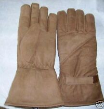 Mens / Womens Motorcycle Gauntlet Buff Brown Leather Lined Gloves Sizes