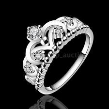 Pretty Princess Queen Crown Jewelry Lady Women Ring Zircon Silver Plated C0F3
