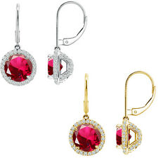 6mm Ruby Round CZ Lever Back Halo Dangling 14K White/Yellow Gold Earrings
