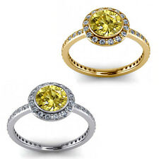 1.50 Carat Diamond Citrine Gem Stone Halo 14K Yellow-White Gold Anniversary Ring