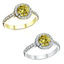1.50 Carat Diamond Citrine Gem Stone Halo 14K White/Yellow Gold Anniversary Ring