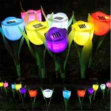 New Outdoor Solar Powered Tulip Flower LED Light Yard Garden Path Landscape Lamp